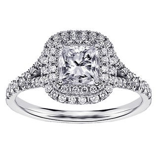 Platinum 1 1/3ct TDW Micro Pave-set Princess-cut Designer Halo Engagement Ring