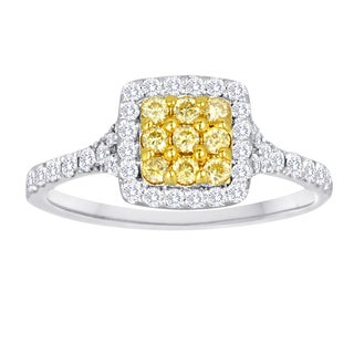 18k White Gold 5/8ct TDW Yellow and White Diamond Halo Cushion Cluster Ring