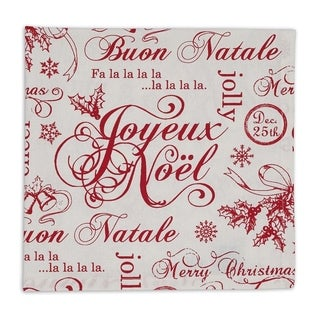 Red/White Cotton Vintage-style Christmas Printed Napkins (Pack of 6)