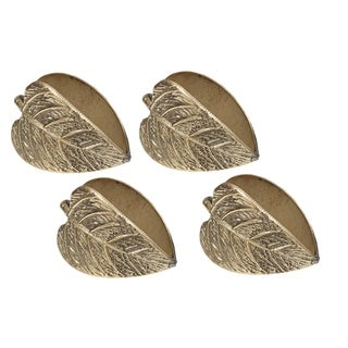Gold Metal Leaf Napkin Ring (Pack of 4)