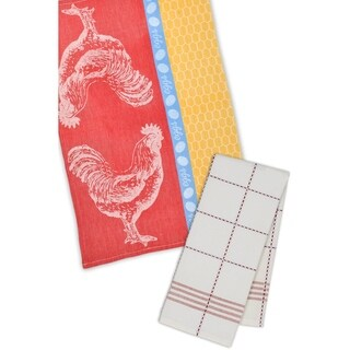 Rooster Coop Jacquard and Plaid Dishtowel (Set of 4)