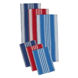 Maritime Blue/Red Cotton Heavyweight Dishtowels and Dishcloths (Set of 3 Pairs)