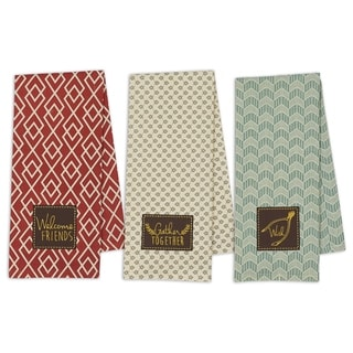 Gather Together Multicolored Cotton Dishtowel (Pack of 3)