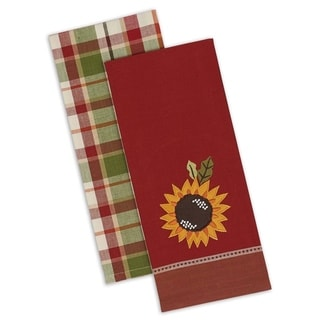 Country Sunflower 2 Plaid/2 Embellished Dishtowels (Pack of 4)