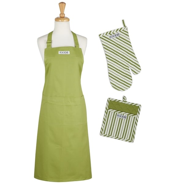 Tomato Green/Multicolor Chef Gift Set With Apron, Potholder, and Oven Mitt