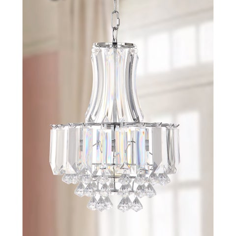 "Safavieh Lighting 12.25-inch Modern Crown 1-light Chrome/ Clear Adjustable Pendant Lamp - 12.25"" x 12.25"" x 19-91"""