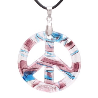 Handcrafted Italian Murano-style Glass Whimsical Themed Peace Sign Pendant