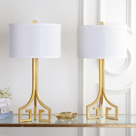 "Safavieh Lighting 27-inch Arabelle Hardback Gold Table Lamp (Set of 2) - 14""x14""x27.5"""
