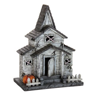 Exhart Resin Abandoned Halloween House with Timer Garden Statue