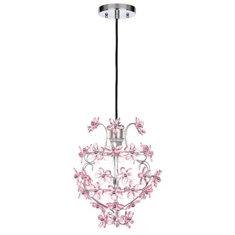 Safavieh Lighting 12-inch Raz Floral Chrome/ Pink Adjustable Pendant Lamp