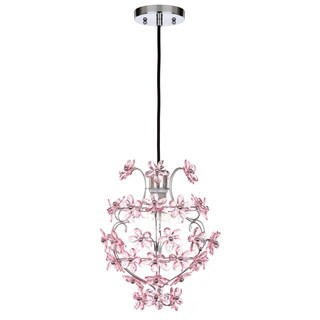 Safavieh Lighting 11.75-inch Raz Floral 1-light Raz Floral Chrome/ Pink Adjustable Pendant Lamp
