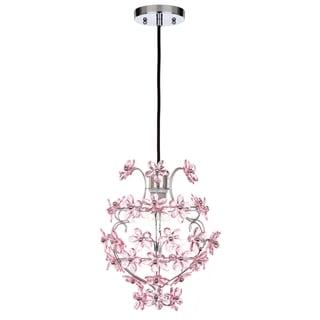 "Safavieh Lighting 12-inch Raz Floral Chrome/ Pink Adjustable Pendant Lamp - 11.75""x11.75""x16.5-88.5"""