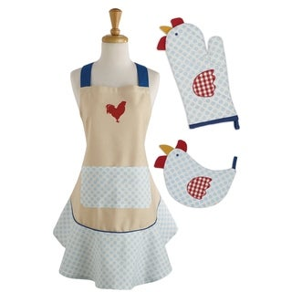Rise and Shine Multicolor Chef Gift Set With Apron, Potholder, and Oven Mitt