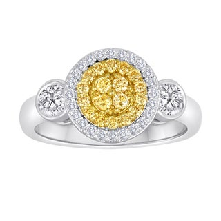 18k Two-tone Gold 5/8ct TDW Yellow and White Diamond Double Halo Cluster Ring