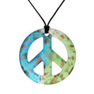 Handcrafted Italian Murano-style Glass Aqua and Mint Green Peace Sign Pendant Necklace