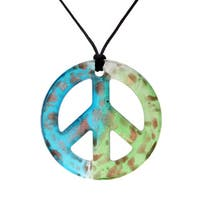 Handmade Italian Murano-style Glass Aqua and Mint Green Peace Sign Pendant Necklace (United States)