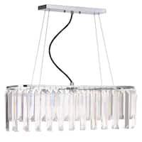"Safavieh Lighting 28.25-inch Elegant Linear 3-light Chrome / Clear Adjustable Pendant Lamp - 28.25"" x 28.25"" x 11.75- 83.75"""
