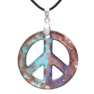 Handcrafted Italian Murano-style Glass Aqua and Royal Blue Peace Sign Pendant Necklace