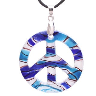 Handcrafted Italian Murano-style Glass Nautical Themed Peace Sign Pendant