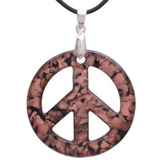 Handcrafted Italian Murano-style Glass Black and Golden-flecked Peace Sign Pendant
