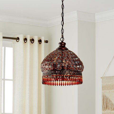"Safavieh Lighting 13.5-inch Jeweled 3-light Bronze Beaded Adjustable Pendant Lamp - 13.5"" x 13.5"" x 18.25-90.25"""