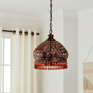 Safavieh Lighting 13.5-Inch Adjustable 3-Light Sultan Jeweled Bronze / Dark Bronze Beaded Pendant La|https://ak1.ostkcdn.com/images/products/12738511/P19516571.jpg?impolicy=medium
