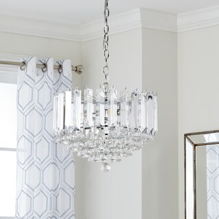 Safavieh Lighting 16.5-Inch Adjustable 2-Light Hampton Chrome / Clear Pendant Lamp