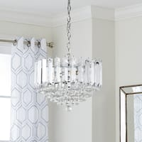 "Safavieh Lighting 16.5-inch Hampton 2-light Chrome/ Clear Adjustable Pendant Lamp - 16.5"" x 16.5"" x 16.25-88.25"""