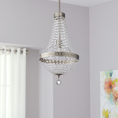 "Safavieh Lighting 11.75-inch Shirley Grand 1-light Nickle/ Clear Adjustable Pendant Lamp - 11.75"" x 11.75"" x 26.25"""