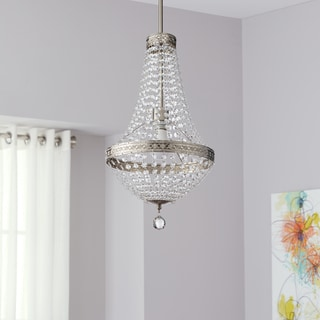 Safavieh Lighting 11.75-Inch Adjustable 1-Light Shirley Grand Nickle / Clear Pendant Lamp