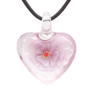 Handcrafted Italian Murano-style Glass Pink and Clear Carnation Heart Pendant Necklace