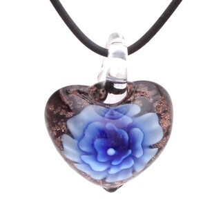 Handcrafted Italian Murano-style Glass Blue Carnation Heart Pendant Necklace