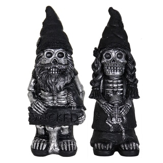 Exhart Resin 16-inch Skeleton Gnomes Couple Garden Statue (Set of 2)