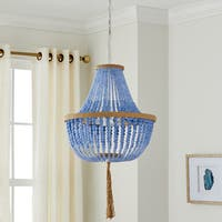 Safavieh Lighting 16.5-inch Adjustable 3-light Lush Kristi Blue Pendant Lamp