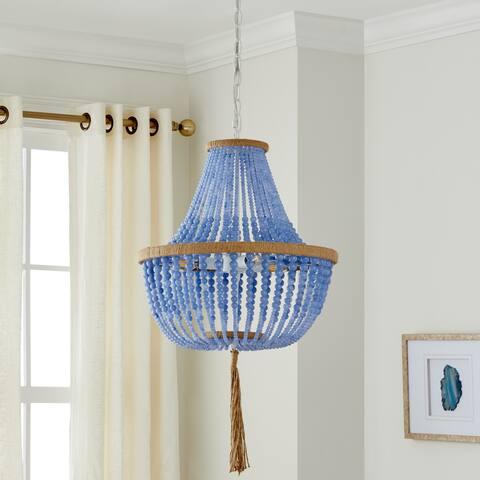 """Safavieh Lighting Kristi Adjustable 3-light Blue Pendant Lamp - 16.5""""x16.5""""x29.75- 111.75"""""""