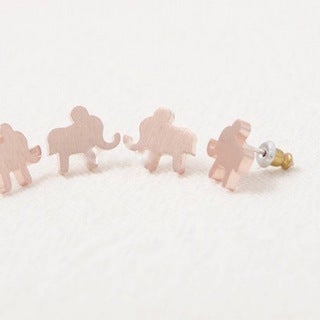 LilahV Women's Black/Pink/Yellow Elephant Stud Earrings