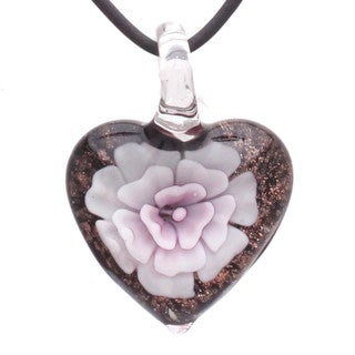 Handcrafted Italian Murano-style Glass Light Pink Carnation Heart Pendant Necklace