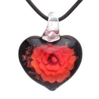Handmade Italian Murano-style Glass Fire Orange Carnation Heart Pendant (United States)