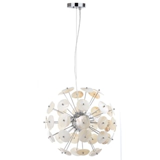 Safavieh Lighting 18-Inch Adjustable 3-Light Disco Natural Cream Pendant Lamp
