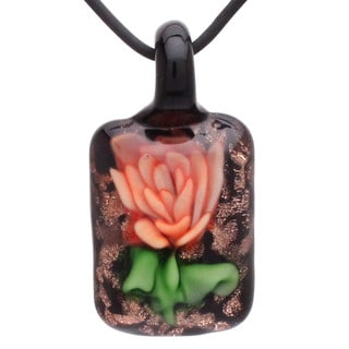 Handmade Italian Murano-style Glass Fire Orange Rose Flower Rectangle Pendant Necklace (United States)