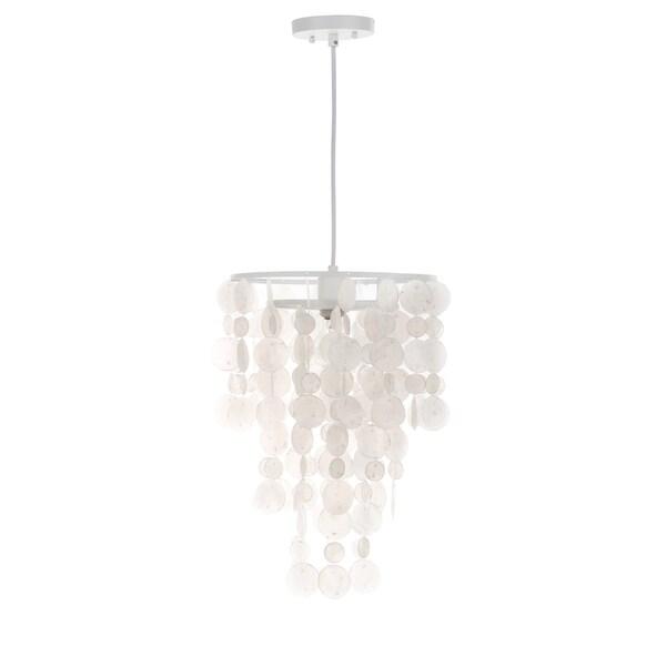 Safavieh Lighting 13-inch Pearl Capiz 1-Light White Adjustable Pendant Lamp