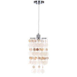 Safavieh Lighting 9-inch Adjustable 1-light Modern Capiz Natural Cream Pendant Lamp