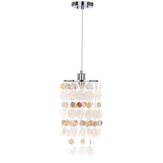 Safavieh Lighting 9-inch Modern Capiz 1-light Natural Cream Adjustable Pendant Lamp
