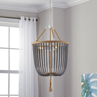 Safavieh Lighting 18-inch Beaded 3-light Angie Grey Adjustable Pendant Lamp