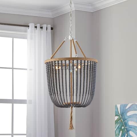 "Safavieh Lighting Angie Beaded 3-light Grey Adjustable Pendant Lamp - 18""x18""x35.5- 107.5"""