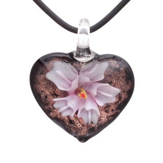 Handcrafted Italian Murano-style Glass Pink Orchid Flower Heart Pendant Necklace