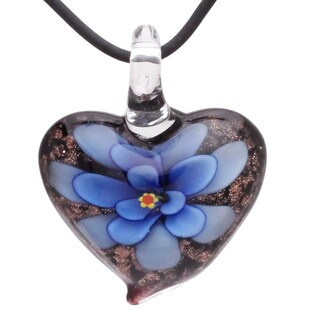 Handcrafted Italian Murano-style Glass Royal Blue Daisy Flower Heart Pendant