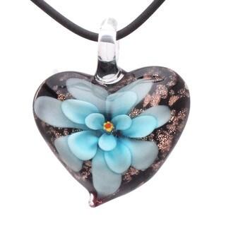 Handcrafted Italian Murano-style Glass Aqua Blue Daisy Flower Heart Pendant