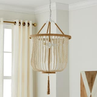 Acrylic pendant lighting for less overstock safavieh angie cream acrylic and metal 18 inch beaded 3 light adjustable pendant lamp aloadofball Image collections