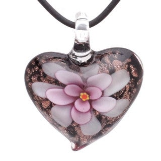 Handcrafted Italian Murano-style Glass Pink Daisy Flower Heart Pendant Necklace